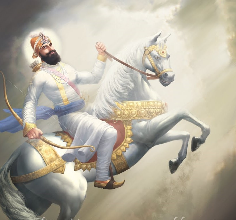 Sri Guru Gobind Singh Ji on white horse